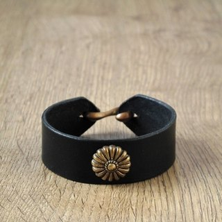ROCK x ride Shifeng all handmade leather bracelet x brass big pattern (black)