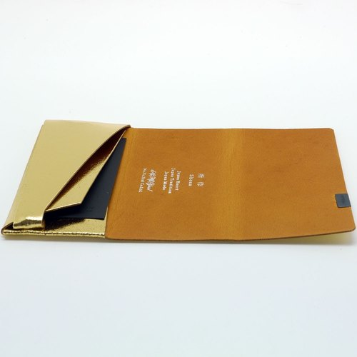 Made Shosa [Japanese handmade vegetable tanned leather] business card holder / clip - color style / gold camel