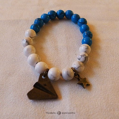 ☽ Qi Xi hand for ☽ [07238] bronze star with a white paper airplane proluta + blue turquoise bracelet