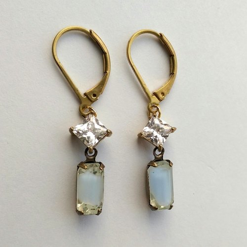 Zircon antique glass long earrings