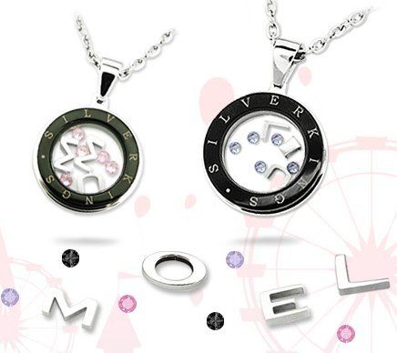 Love Ferris wheel necklace necklace can own three-letter and 5 gang crystal jewelry personalized dating couples suite wedding anniversary gift