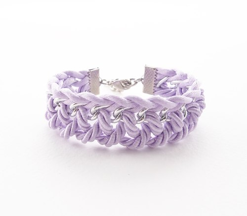 ♥ ELBRAZA ♥ Lilac braided bracelet with silver chain.