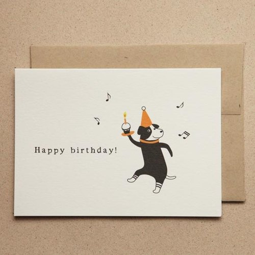 Black cute animal series - little black dog happy birthday / 3 into