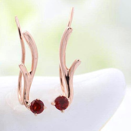 Made to Order - HAPPINESS RAINBOW DEER - 2.5mm Round Faceted Garnet 18K Rose Gold Earring
