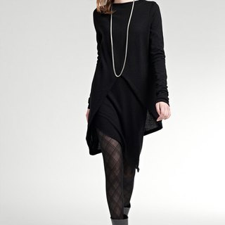 Asymmetrical hem Collar Blouse