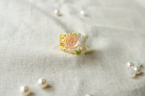 Sweet Dream ☆ Hanayome Sang rose lace ring / pink gold rose
