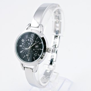 [UNI] with you under the same sky simple silver bracelet watch Star (black face)