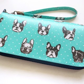 Blue-green bulk dog. Waterproof long clip / wallet / purse / purse