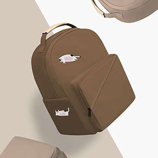 [Exclusive Qualification] Paper Bag White 喵喵 - Chocolate Canvas Backpack