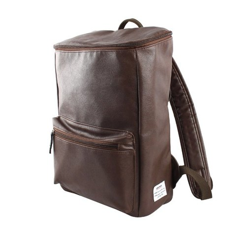 AMINAH- retro brown leather square backpack after [am-0227]