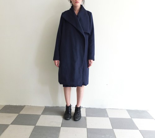 Navy blue blanket wool coat (can be set to black)