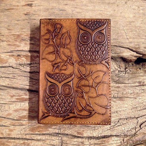 ♣India Handmade Leather Embossed Journal- Owl Pattern