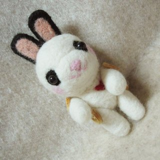 HI rabbit ((joint movable version)) ~~ pure New Zealand wool production necklace / bag strap / key ring has three functions