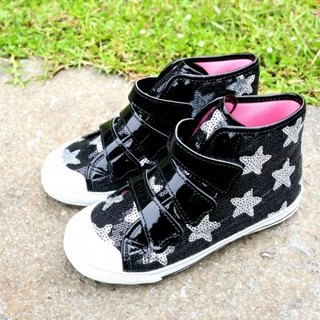 Emily black and silver stars small high-top casual shoes (zero code special offer only accept returns)