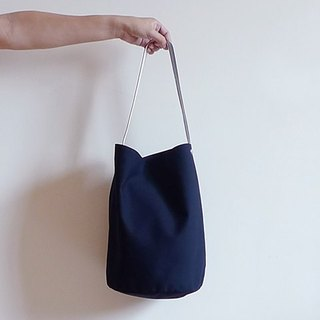Black canvas large bucket (circle) leather handle shoulder bag