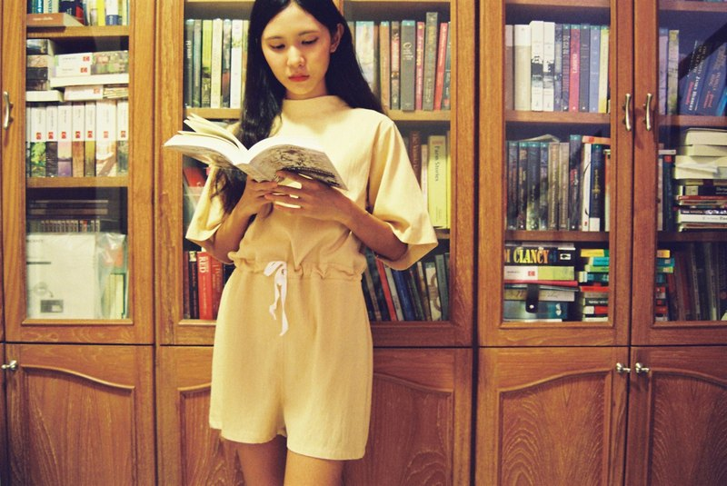 MINIMAL Japanese style shorts rompers with high neck and three-button back