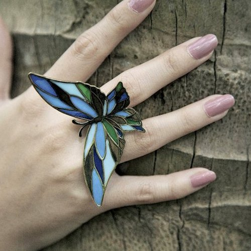 Butterfly blue stand glass ring in brass  ,Rocker jewelry ,Skull jewelry,Biker jewelry