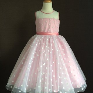 Pink Polka Dot Dress with Illusion Neckline
