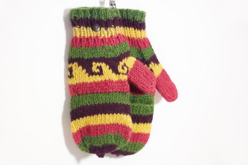 New Year's gift hand-woven pure wool knit gloves / detachable gloves / bristles gloves / warm gloves - Sunset Forest