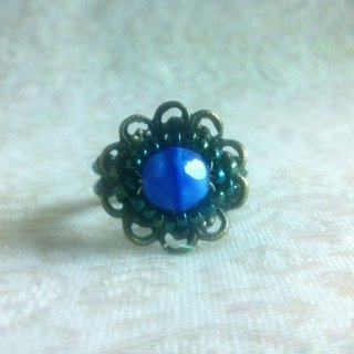 Ancient silver retro flower beauty seat ring - deep blue coral