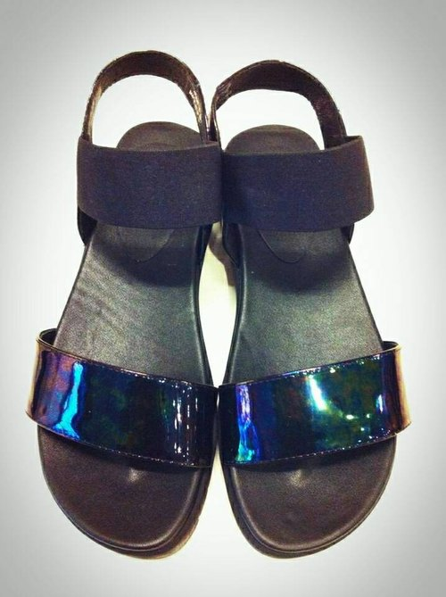 Painted # 946 Stretch Weekend small thick sandals / neon