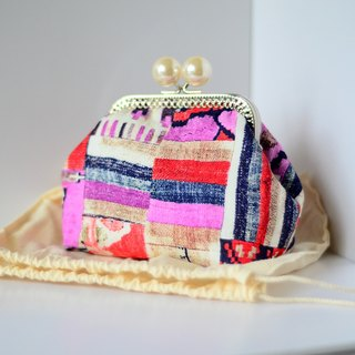 Cosmetic Frame Purse - Patchwork - Portable and multiple purposes