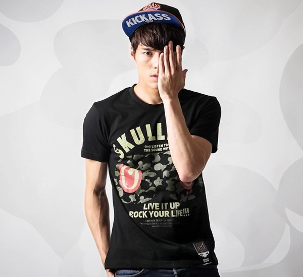[SKUllTWO] field camouflage rabbit short T boys straight version / LO-B02