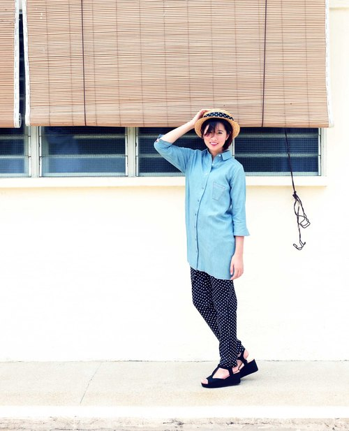Ice Cream 3/4 Sleeve Cotton Denim Long Shirt