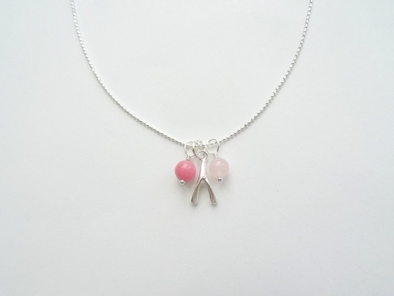 -Rhodonite & Rose Quartz Wishbone Sterling Silver Necklace - Pink