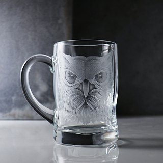 450cc [gift] Owl carving Owl realistic beer mug beer mug large curved grip design customized