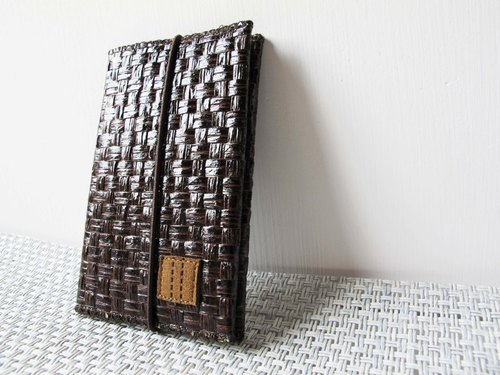 Paralife Custom Handmade Dark Brown Grass Woven Card Holder with Elastic (custom made size)