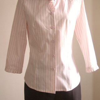Small flounced sleeve striped shirt
