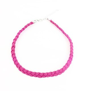 Peach pink - suede braid twist necklace