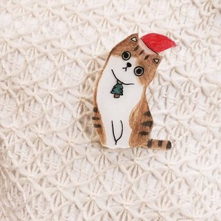 Miss Tabby cat Christmas - pin