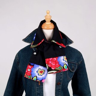 "Shirt concept scarf / "" warm "" black + big flower images (both men and women, unique)"