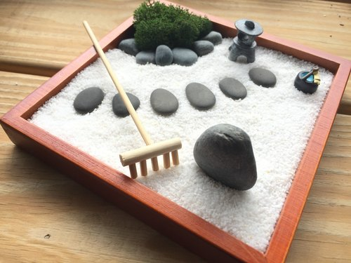 Pure Natural Japanese Garden Wooden Box Sand Tray Landscape Stone Lamp  Holiday Gifts Healing Small Things