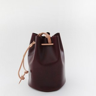 joydivision vintage first layer of vegetable tanned leather hand bag leather bucket bag burgundy