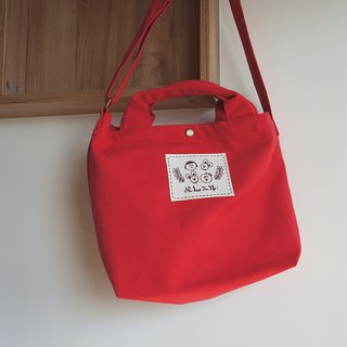 Ni Hao Im FiFi cotton canvas dual-use bag (cloth standard) can be oblique / portable - red
