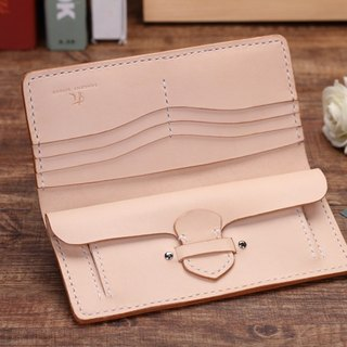 [Cut line] Italian vegetable tanned leather handmade leather ladies wallet long clip 002 original color