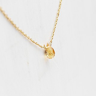 【NOVEMBER 11-birthstone-Citrine 】Clavicle necklace Brass with 22K Gold plated (adjustable)