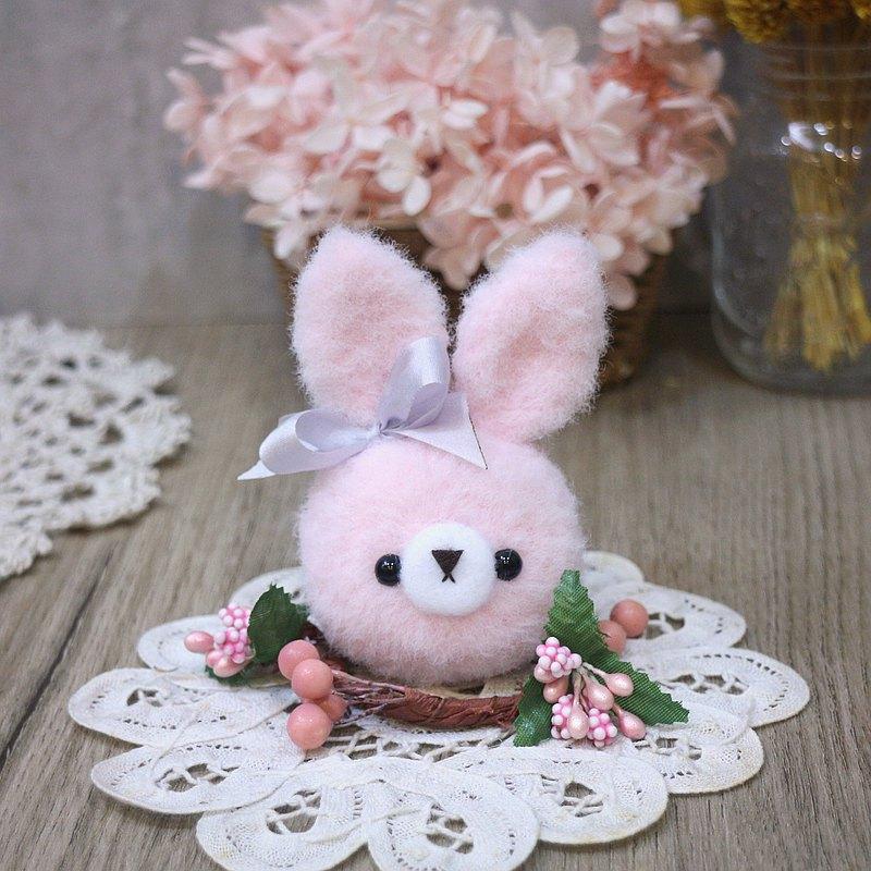 馬卡龍-兔-淺粉。鑰匙圈。吊飾