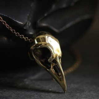 Raven Skull Necklace by Defy / Unisex Jewelry / Golden Crow Skull / Bird Charm Pendant