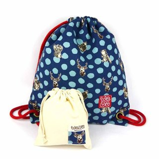 WaWu Drawstring backpack (Rabbit and deer/blue)