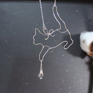 Curious Cat Sterling Silver Necklace with Crystal