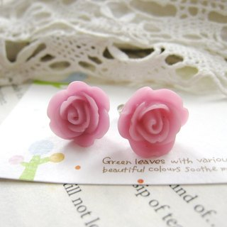 Resin Little Rose earrings (purple)