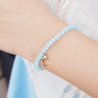 Gold plated cute dolphins, glittering Czech face beads, lake blue bracelet
