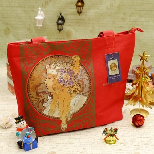 Artist Mucha - Favourite Goddess Tote lover red