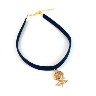 """Golden Rose - black suede necklace"" thick section"