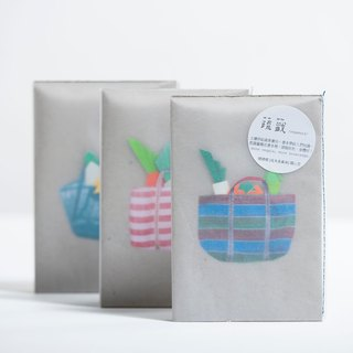 \ Vegetable sign / origami bookmark group _ the traditional shopping bag (Grandma bag / red and white models / classic blue)