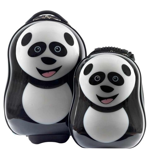 [British cuties and pals] 16-inch egg-shaped light monocoque exclusive suitcase +13 inch backpack child group (Panda)